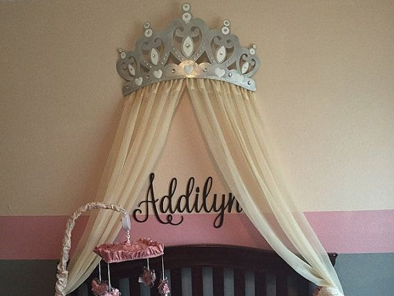 Lovely Bed Canopy Crown Wall Decor In Silver With White Sheer Panels And Choice Of  Rhinestone Accent
