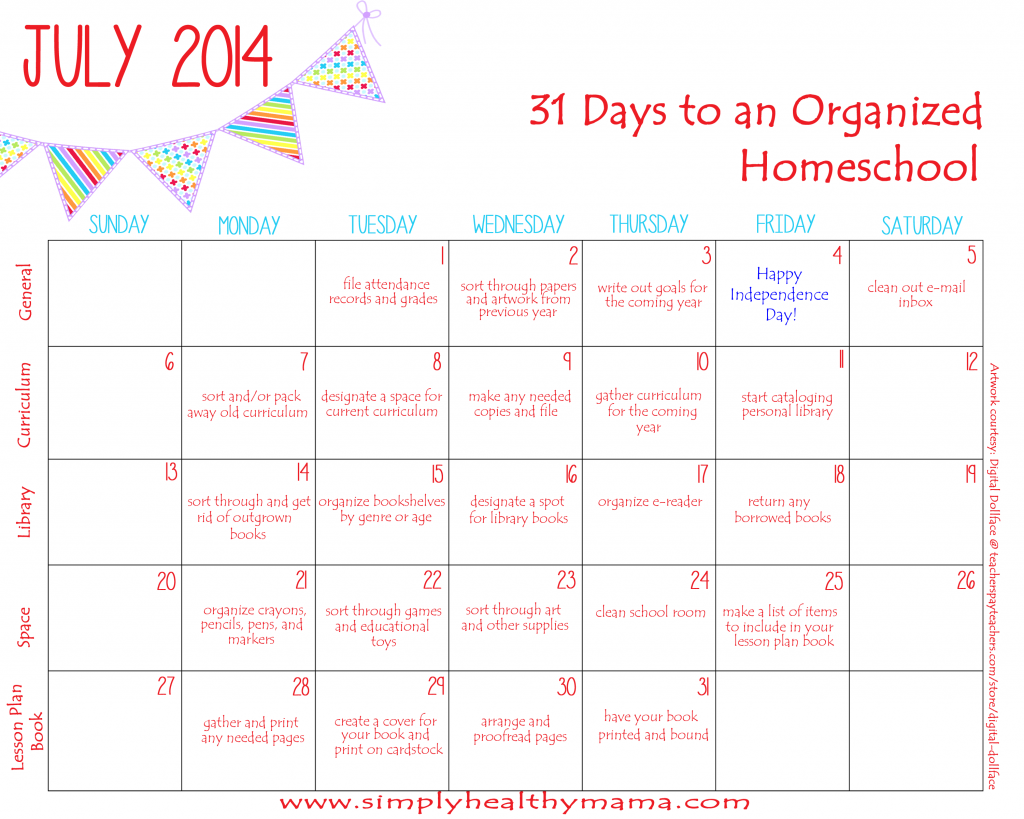 31 days to an organized homeschool week four cleaning for Plan out your room online free