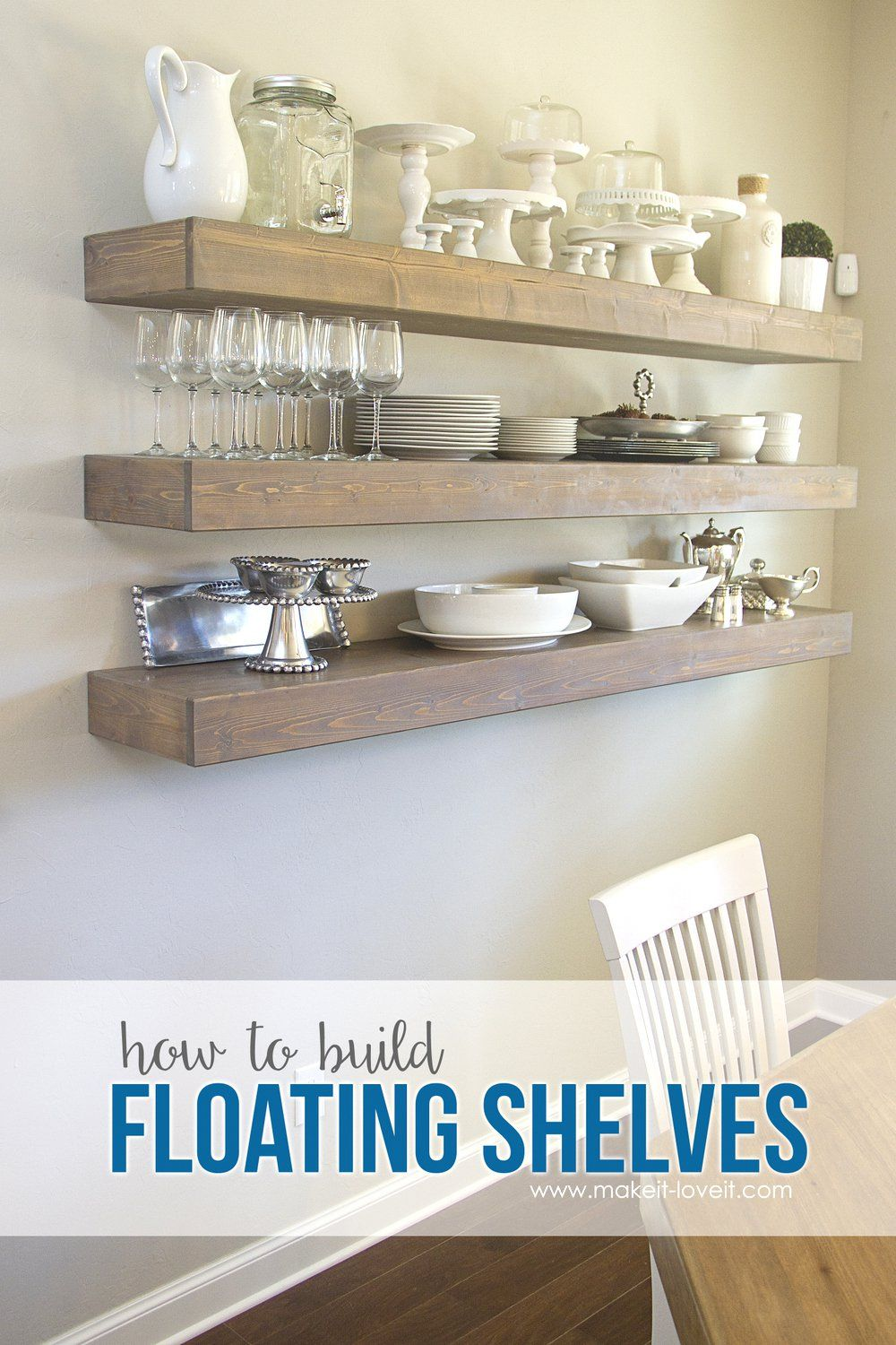 How To Build Simple Floating Shelves For Any Room In The House Unique Floating Shelves Dining Room Design Decoration
