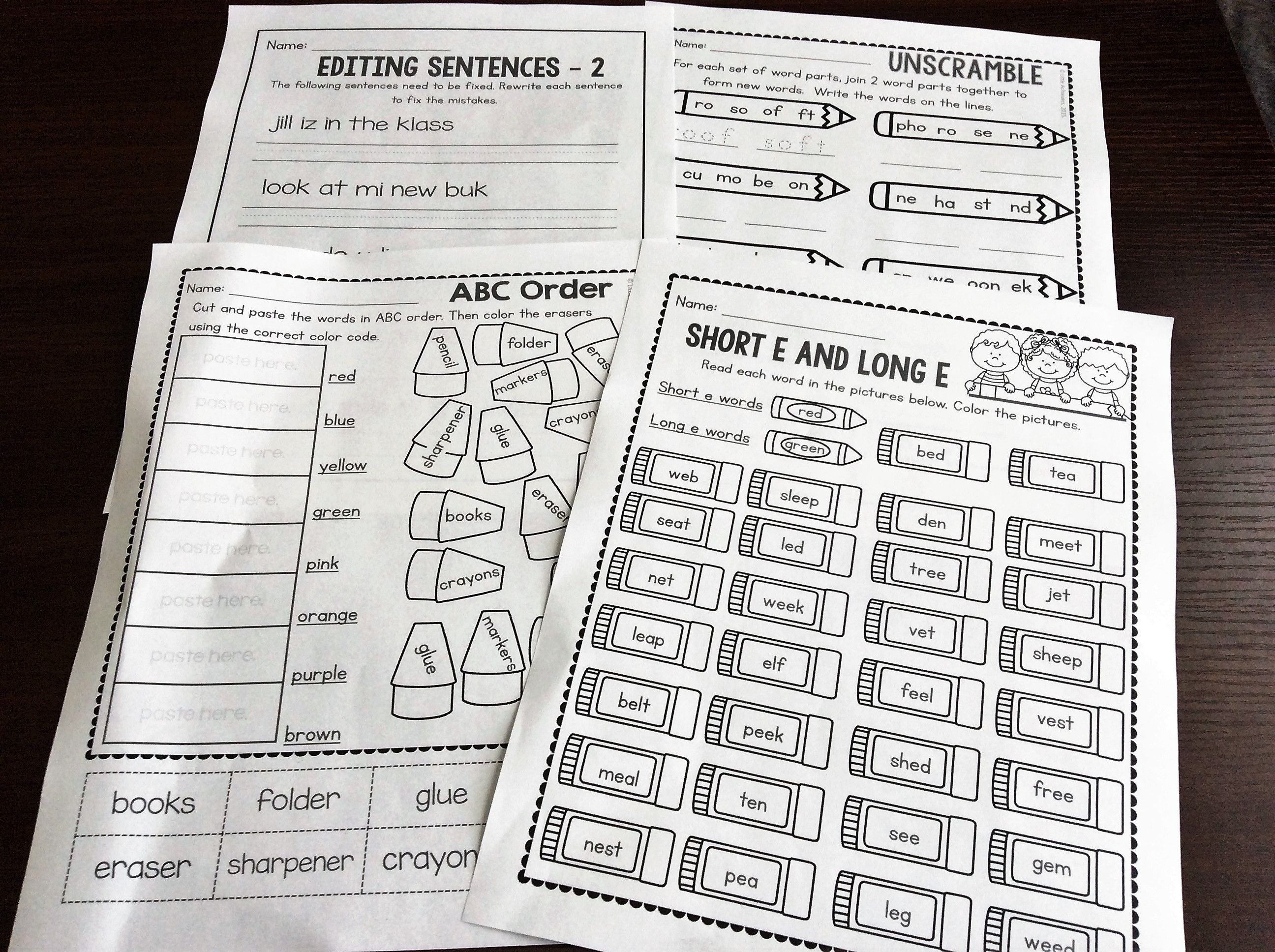 First Grade Back To School Math And Literacy Printables