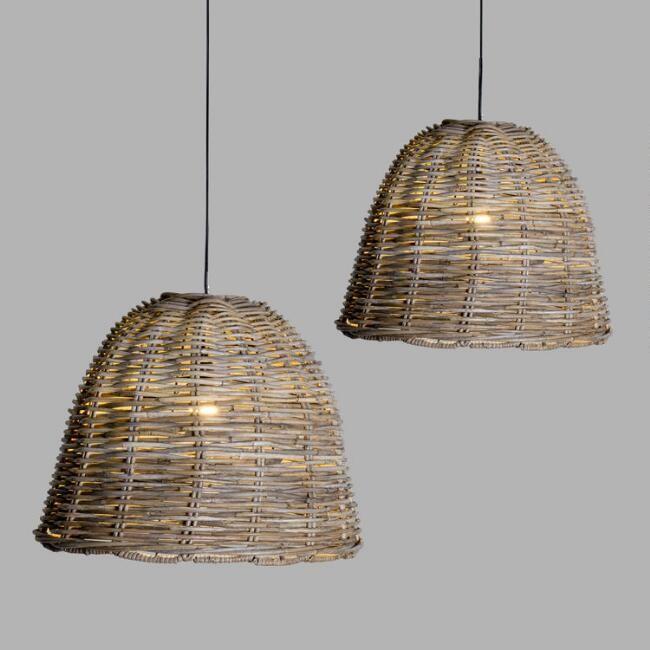 Handwoven Rattan Mason Pendant Lamp - V1
