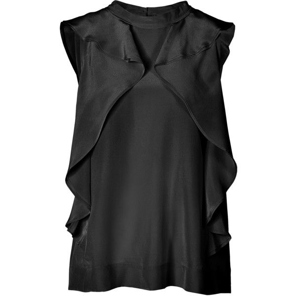 Marc by Marc Jacobs Silk Ruffled Shell (3 655 UAH) ❤ liked on Polyvore featuring tops, blouses, shirts, black, ruffle blouse, silk ruffle blouse, shirt blouse, loose blouse and loose shirts