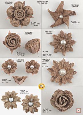 Beste 12 RiscaWin (9 Pcs) Handwerk handgemachte Sackleinen Rose Blumen DIY Entdeckungen Shabby