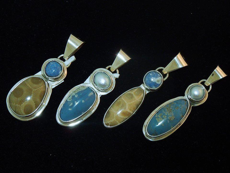 Leland blue stone petoskey pearl pendants in sterling silver leland blue stone petoskey pearl pendants in sterling silver aloadofball Image collections