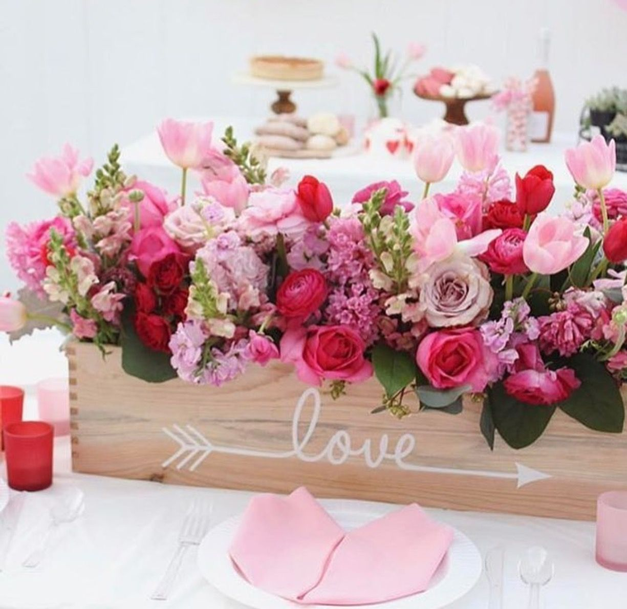 Love this pink and white flower arrangement in box