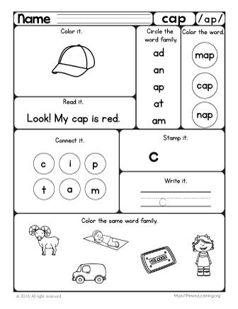 Word Families Worksheet BUNDLE | Worksheets, Kindergarten and Phonics