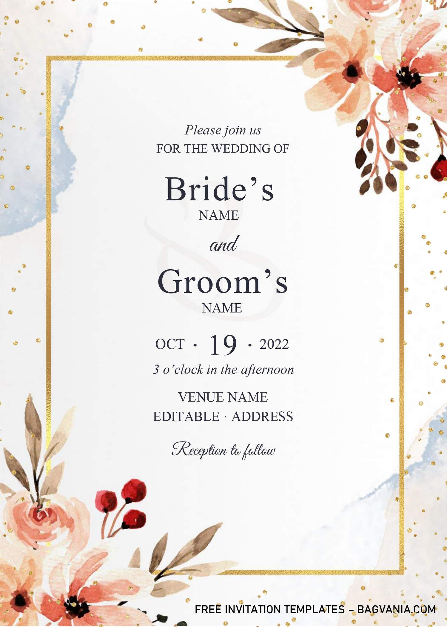 Golden Frame Wedding Invitation Templates Editable With Microsoft Word Invitation Template Wedding Invitation Templates Free Printable Birthday Invitations