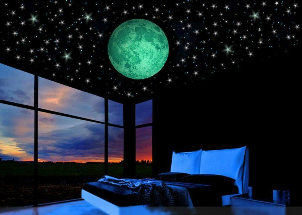 Glow in the dark stars  bonus cm full moon wall decal design also stickers  baby room decor rh pinterest
