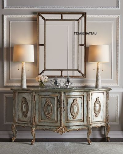 XL-LARGE-ORNATE-ANTIQUE-SILVER-WALL-MIRROR-PANELED-BUFFET-MANTEL-FRENCH-REGENCY