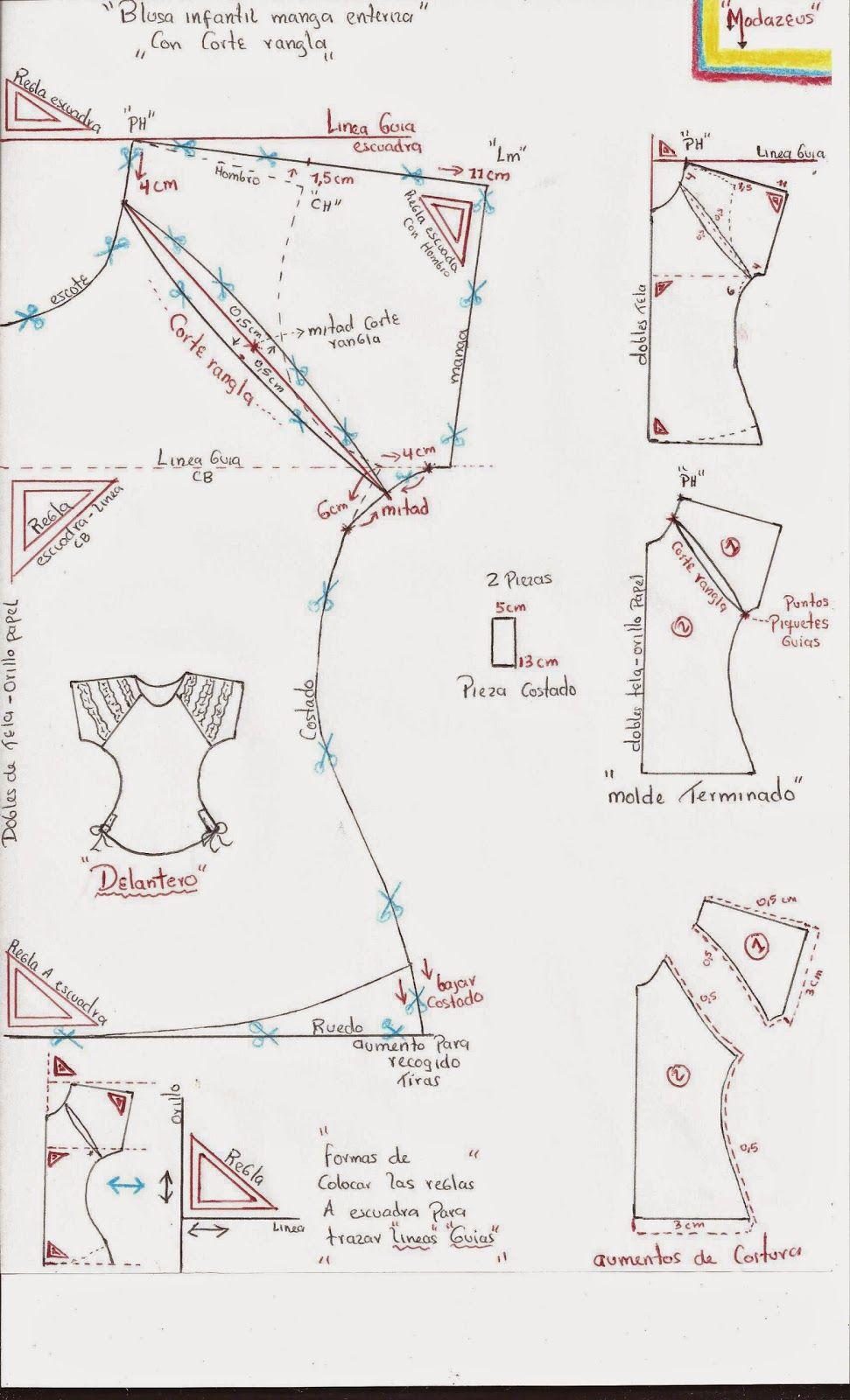 patron de blusa manga ranglan para niñas | Costura | Pinterest ...