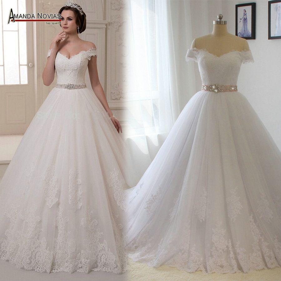 ce4328b69fb8e Vestido Para Casamento Off ombro manga curta Appliqued v neck cristal fita  Sash Vestido de noiva em Vestidos de noiva de Casamentos e Eventos no ...