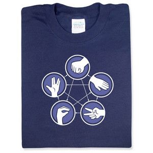 "Rock Paper Scissors Lizard Spock T-shirt ($16.99) - From ""The Big Bang Theory"". RPSLS is a nice way to spice up your Rock Paper Scissors games. For example, Spock vaporizes rock but is disproved by paper. You never have to remember what beats what when wearing this shirt!"