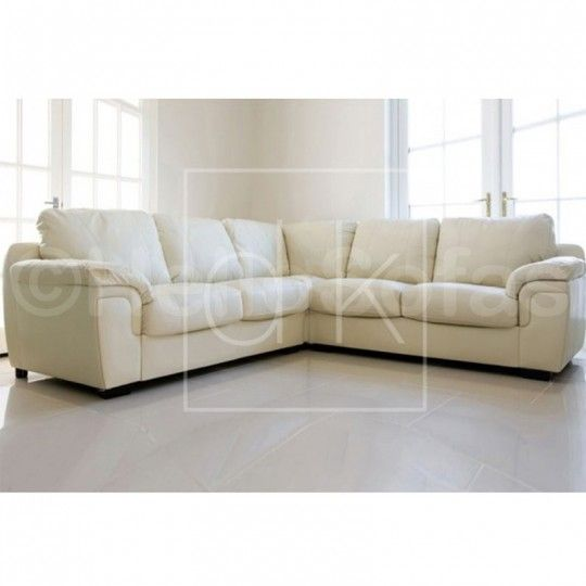 Santiago Cream Leather Corner Sofa - Available In Other Colours