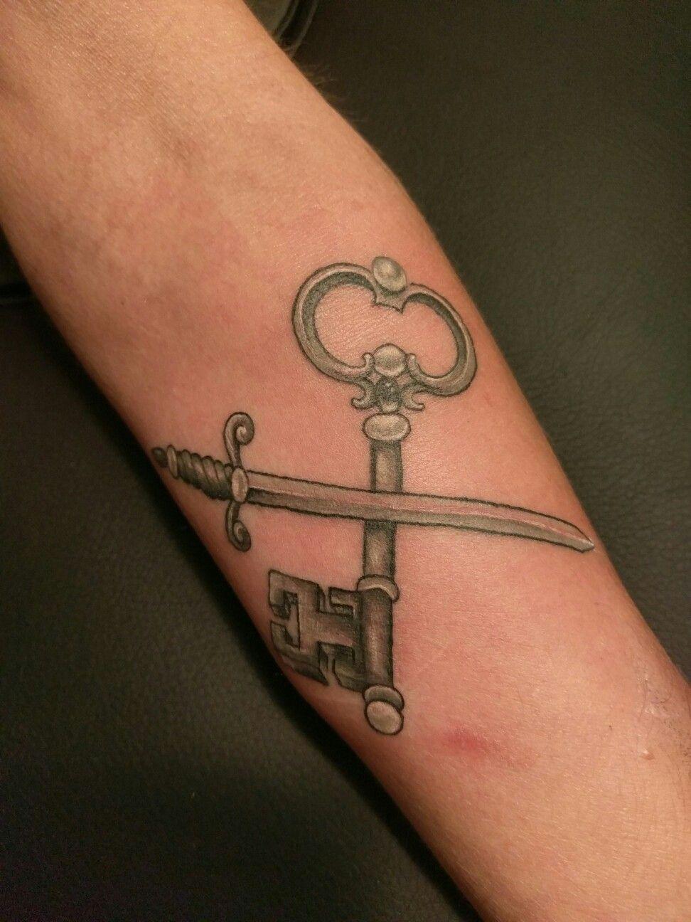 Cross Sabre and key tattoo Key tattoo, Tattoos, Infinity