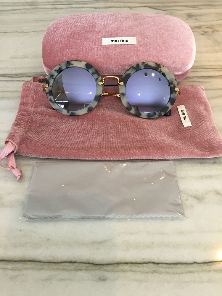 6c8a3e13a0abc Authentic Miu Miu Round Sunglasses~ Grey Tortoise with Purple Mirror Lenses  #MiuMIu #Round