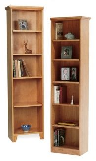 Tall Narrow Shaker Bookcase Small Spaces Wooden Bookcase