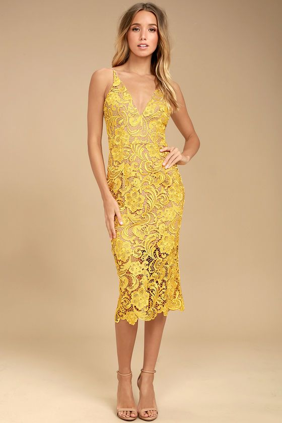 8a206e2ce9 Sexy, stunning, and chic, the Dress the Population Marie Yellow Lace Midi  Dress really is the perfect dress! Nude lining and yellow crochet lace form  a ...