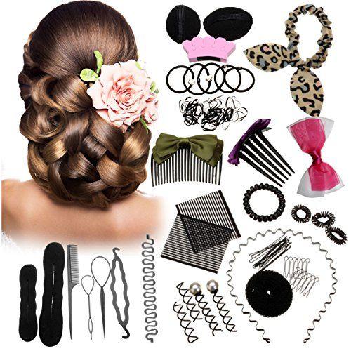 45pcs Hair Styling Kit Luckyfine Hairdresser Magic Hair Clip Styling Pads Foam Sponge Bun Donut Hair Clip Accessory Tool Want Hair Kit Magic Hair Hair Tools
