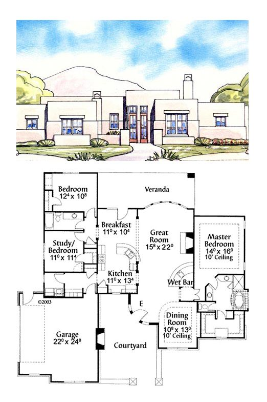 Santa Fe House Plan 71629 Total Living Area 1950 Sq Ft 2 Bedrooms 2 Bathrooms Houseplan Santafestyle House Plans Adobe House Country House Plans