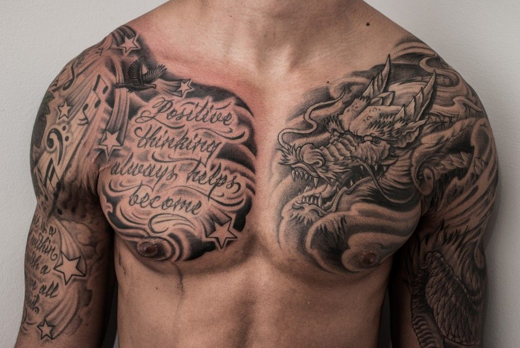 Men Chest And Upper Sleeve With Nice Flowers Tattoo: Hearts On Our Sleeves: Tattoos