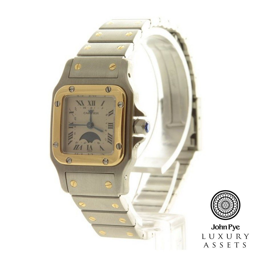 Cartier Santos ladies two-tone watch and bracelet. Watch features a white roman numeral dial and automatic movement