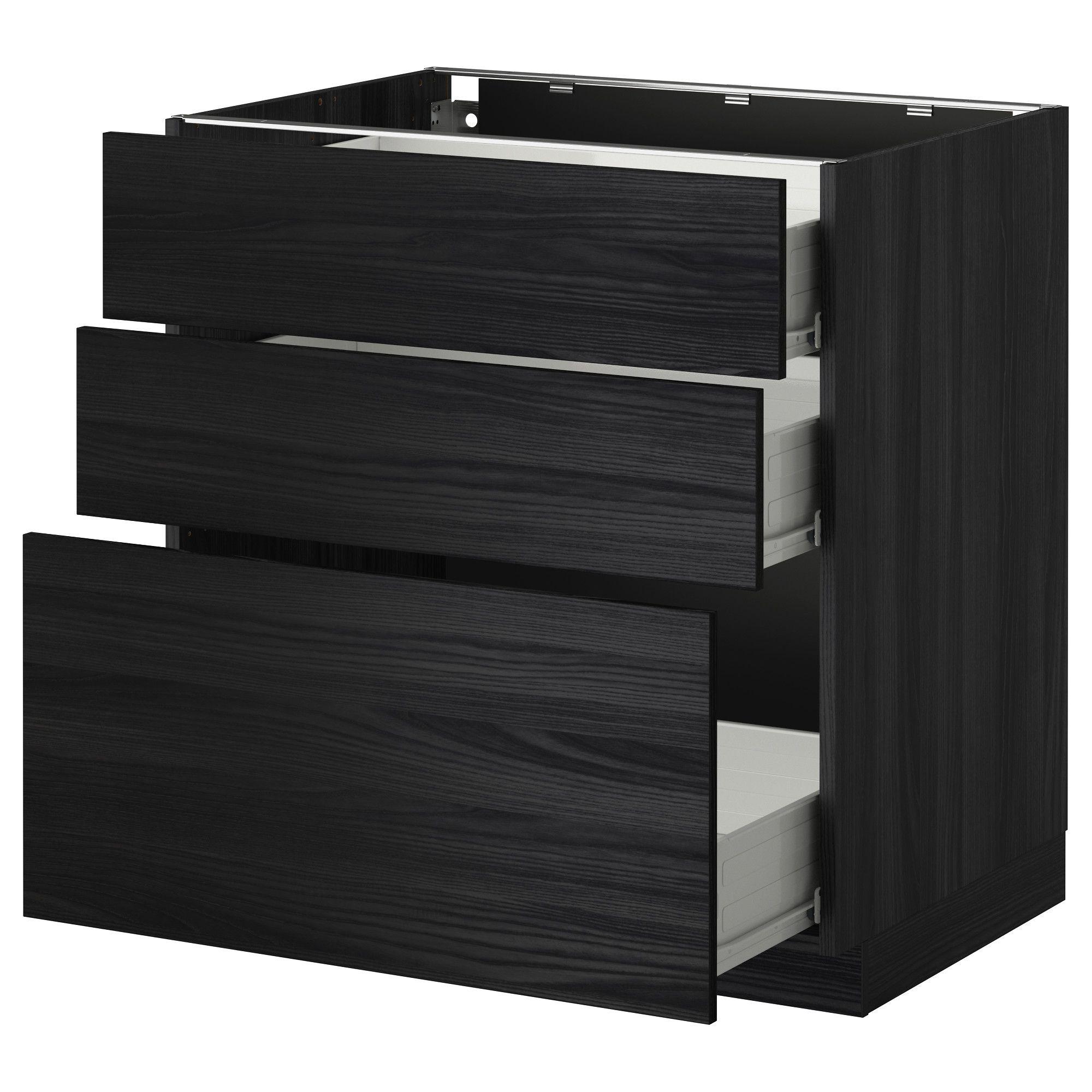 METOD / FÖRVARA, Unterschrank mit 3 Schubladen, schwarz