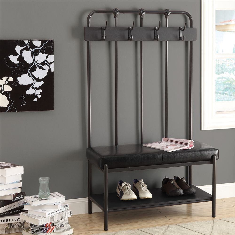 Metal 60 H Hall Entry Bench Shelving Com Entry Hall Bench Entry Bench Monarch Specialties