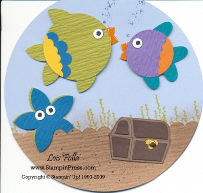 Fish Bowl Card ~ love the fish punch ideas