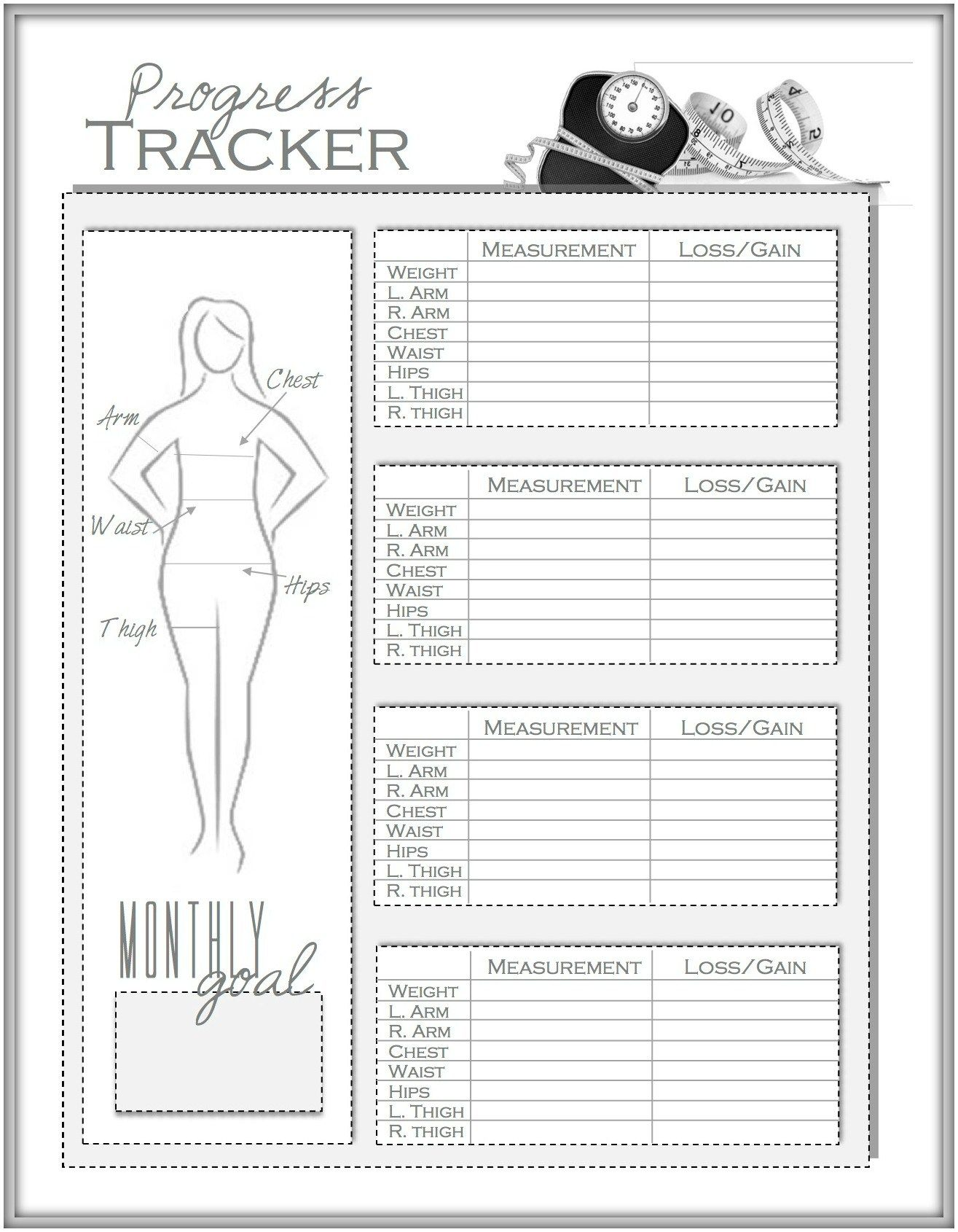 Weight Loss And Measurement Progress Tracker Planners Pinterest