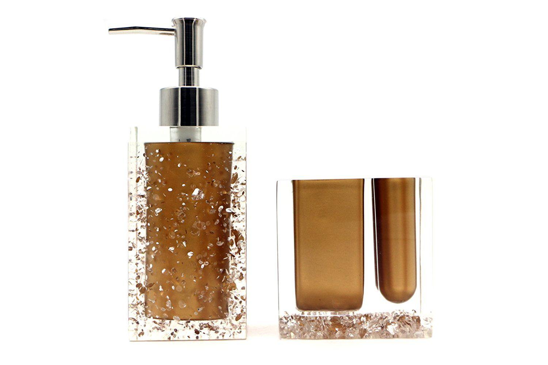 Amazon com hot san resin 5 pieces bathroom accessory set ice crystal in gold design ensemblebathroom vanitieshome decor home kitchen