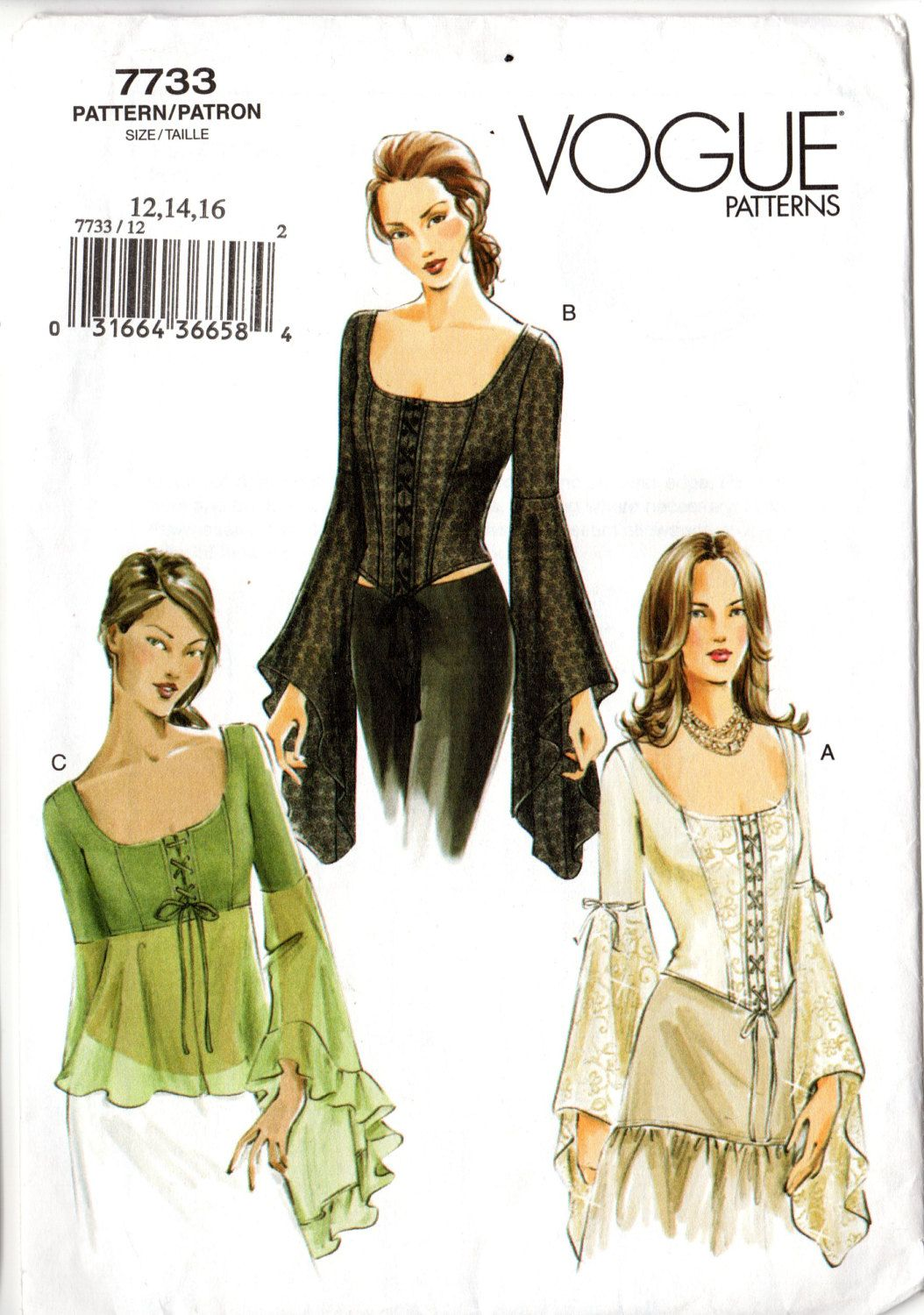 Vogue 7733 Misses\' Medieval Gothic Style Tops Sewing Pattern | Pinterest