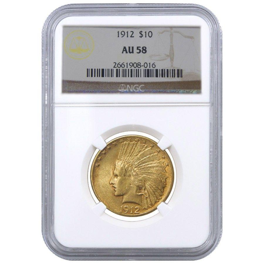 1912 10 Indian Head Eagle Gold Coin Ngc Au 58 Gold Eagle Coins Gold Coins Gold Eagle