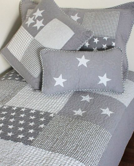 Baby Bedding Set 120x90 Pillowcase, Cot Bedding Grey And White Stars