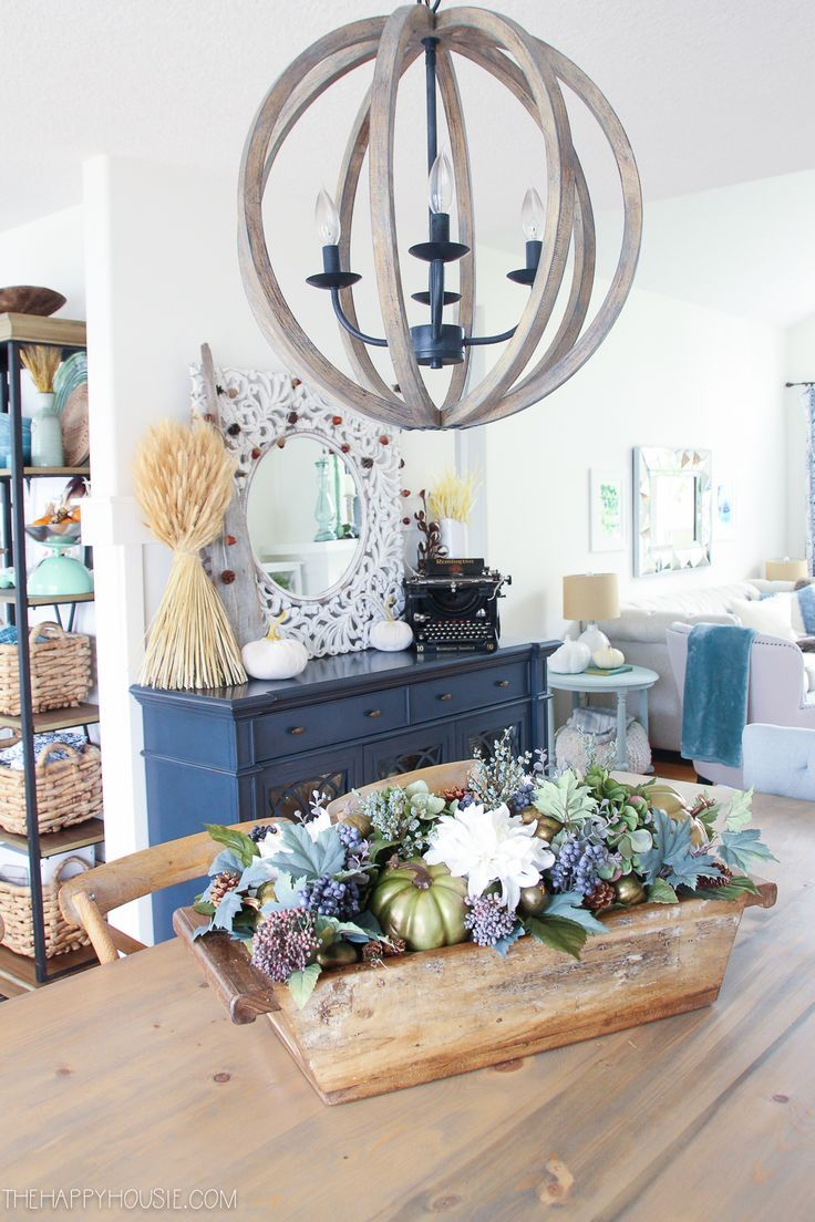 Blue & Green Fall Decor Home Tour images