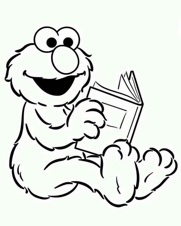 Baby Elmo Reading A Book In Sesame Street Coloring Page Color Luna Sesame Street Coloring Pages Elmo Coloring Pages Coloring Pages