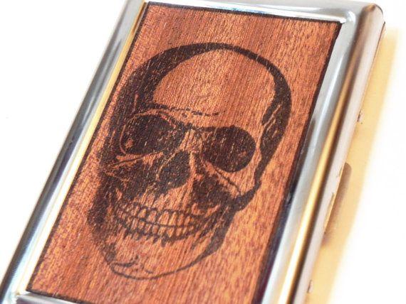 Rfid wallet credit card case real wood skull print steel wallet rfid wallet credit card case real wood skull print steel wallet card case business card holder travel case pocket size case reheart Choice Image