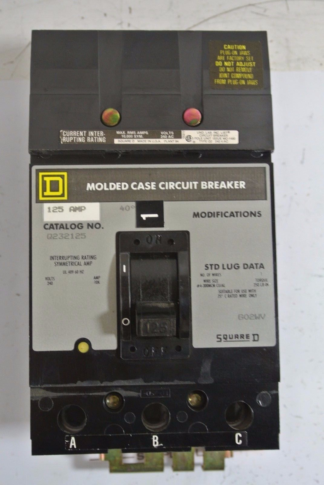 Square D Q232125 Q2 3p 240v 125a I Line Circuit Breaker Tested Business