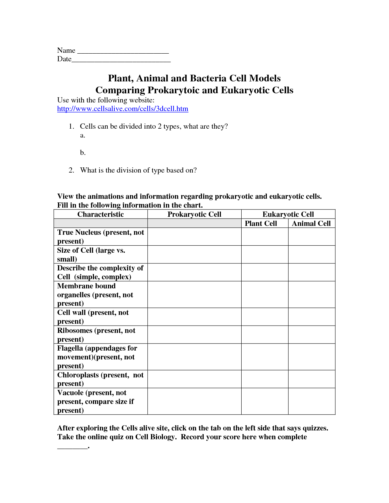 {cells worksheets – Prokaryotic and Eukaryotic Cells Worksheet