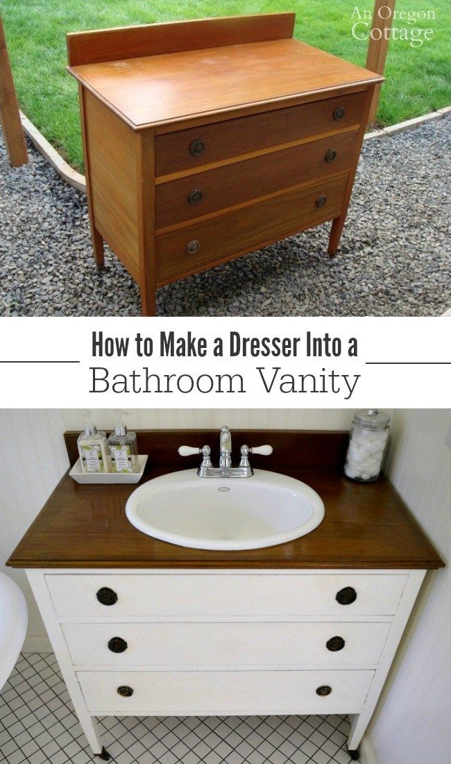 How To Make A Dresser Into A Vanity Tutorial Diy Bathroom Vanity