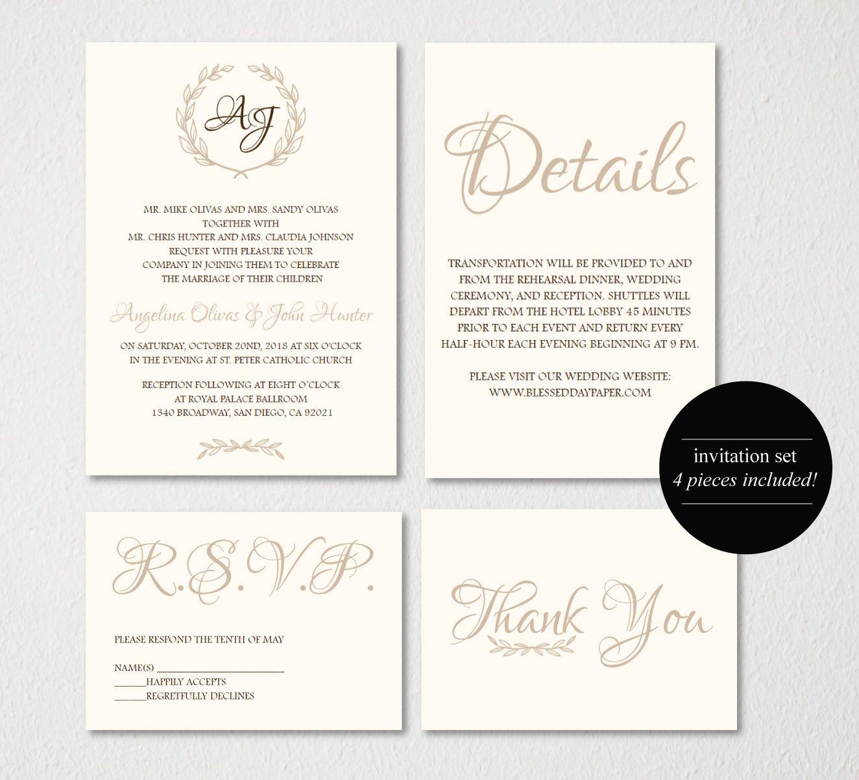 Wedding Invitation Printable/Wedding Invitation Template/Vintage/E ...