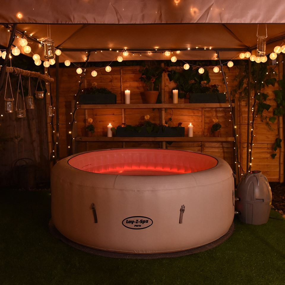 lay z spa paris airjet inflatable hot tub easily set up either indoors or outdoors within. Black Bedroom Furniture Sets. Home Design Ideas