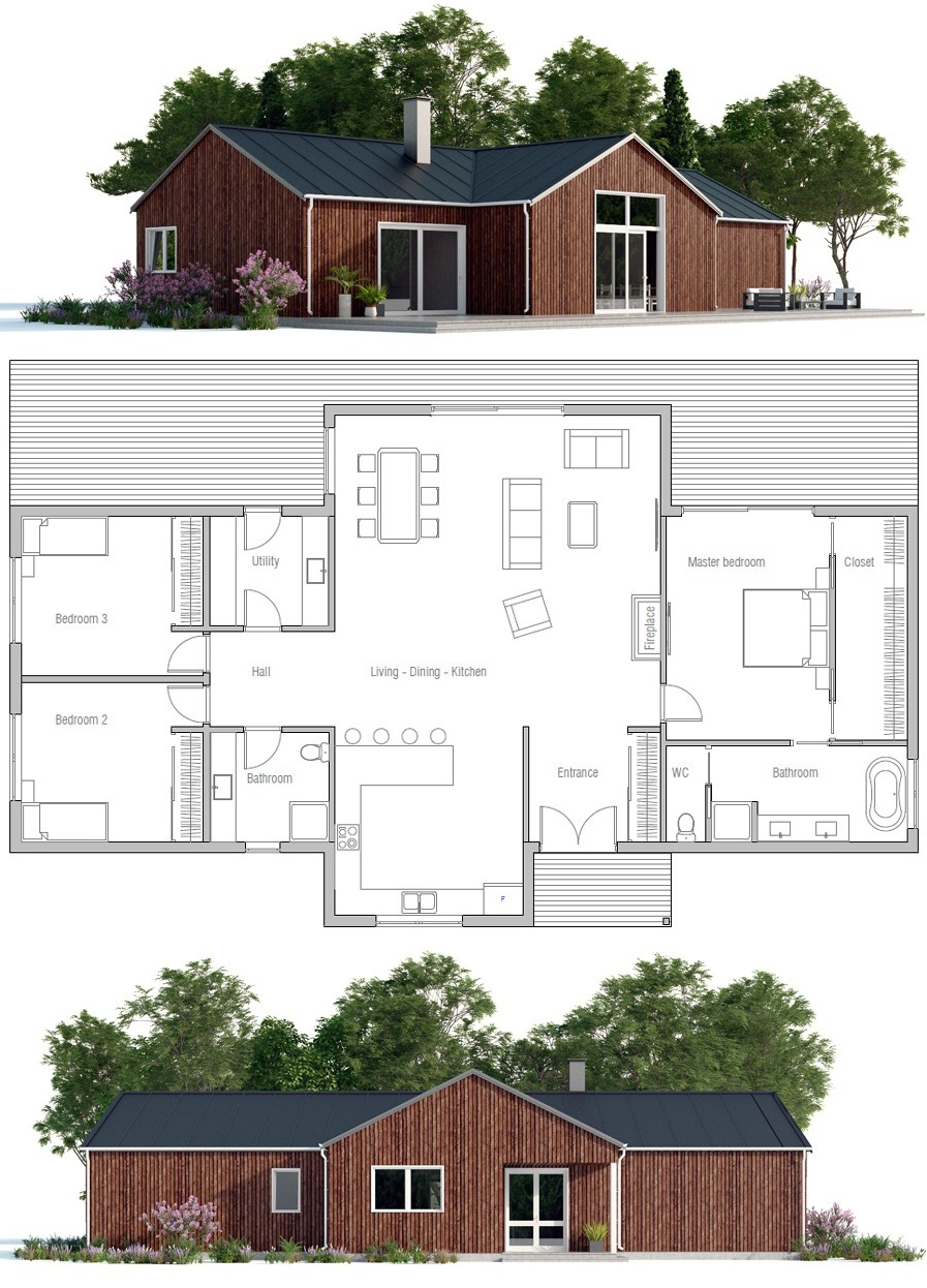 Home Plan Ch430 Affordable House Design House Blueprints Home Construction