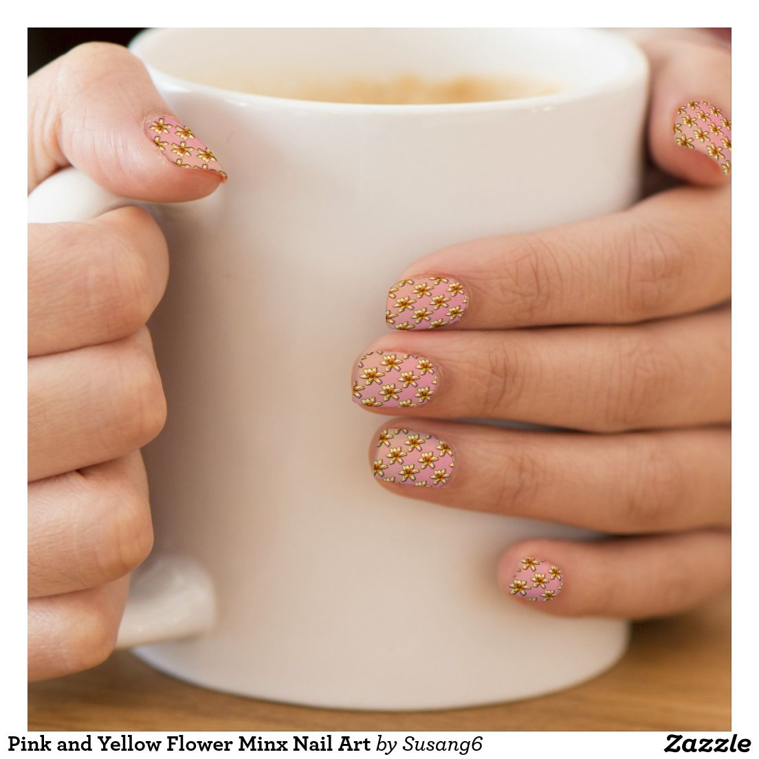 Pink and Yellow Flower Minx Nail Art