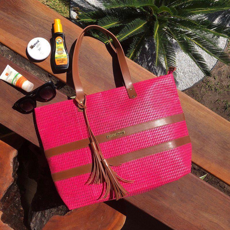 Bolso de playa de lona rosa