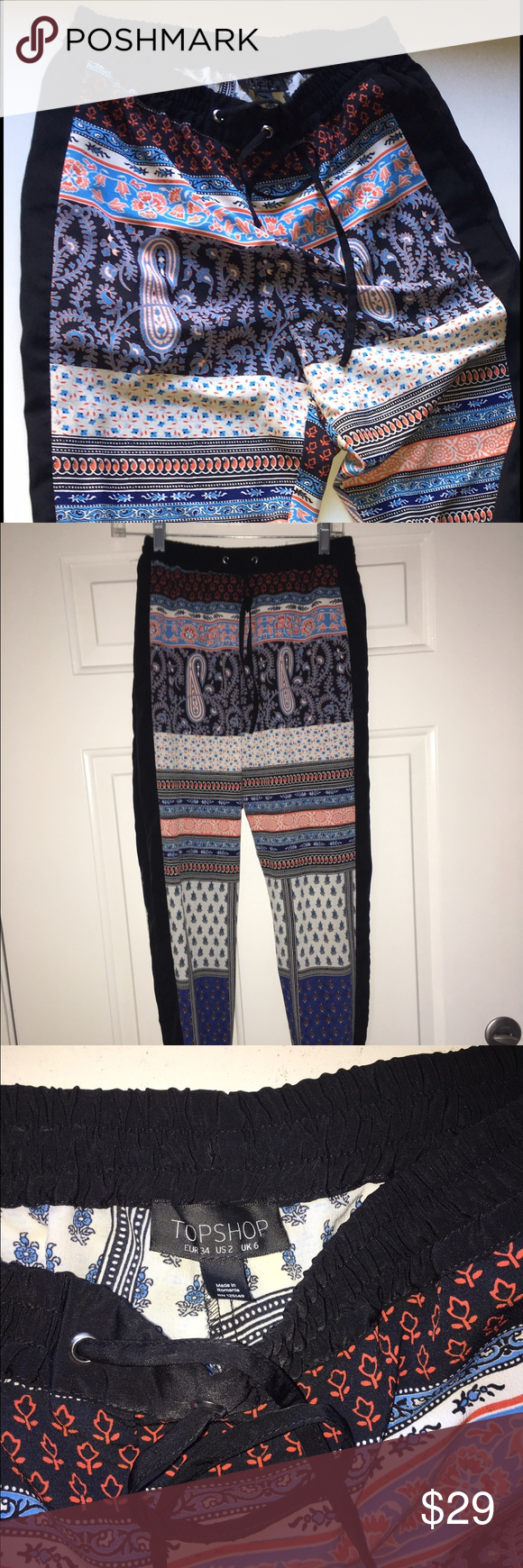 TopShop Blue Patch Printed Jogger pants Luxe Printed Jogger Pants from TopShop Topshop Pants Track Pants & Joggers