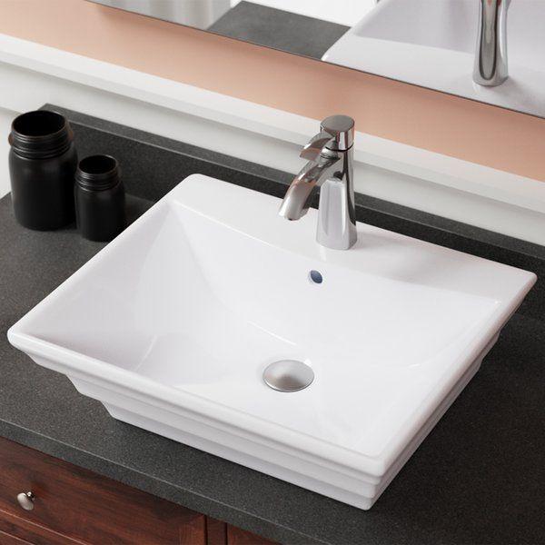 Vitreous China Rectangular Vessel Bathroom Sink with Overflow bath