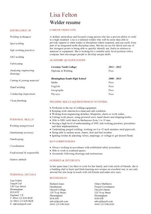 sample welder resumes