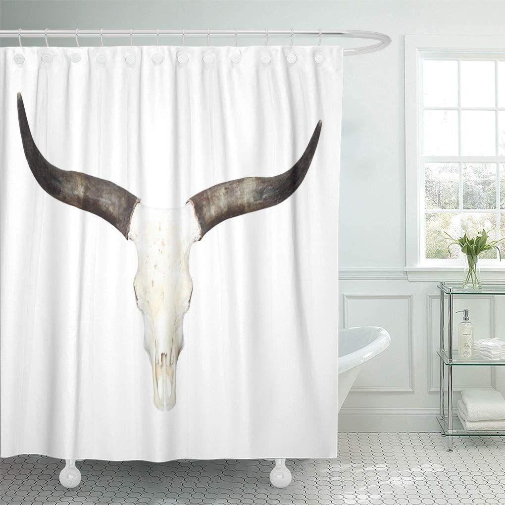 Western Bull Skull Long Horns Longhorn Steer Bathroom Decor Bath Shower Curtain 66x72 Inch Bathroom Decor Shower Bath Curtains Texas longhorn bathroom decor