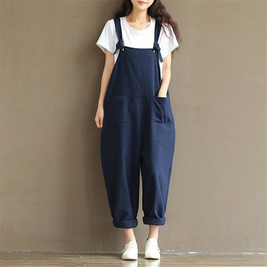 a936d9bb9e7 Purrfeel Womens Cotton linen Baggy Overalls Jumpsuit  Amazon.co.uk  Clothing