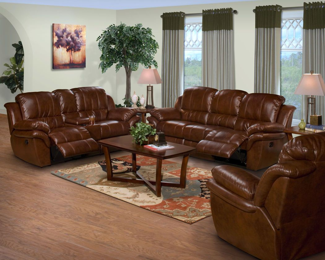 2 Pc Brown Leather Match Cabo Standard Motion Reclining Sofa And Loveseat W Console Set